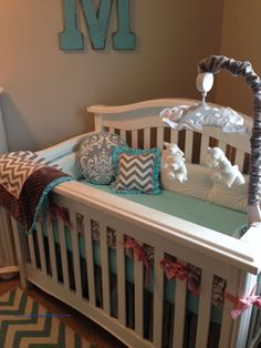 Ivory Velour crib bumper with tufting and pink bows with grey chevron and damask fabrics
