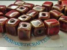 Red Ceramic Cube Bead Destash Lot Jewelry by VikisVarietyCraft, $15.00