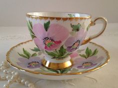 Hand Painted Signed Tuscan China Tea Cup & Saucer Teacup Duo