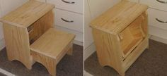 Introduction and plans This step stool is a very practical, multi-purpose unit which would find a place in just about any house. The step stool stands high, wide and Folding Furniture, Furniture Projects, Wood Furniture, Wood Projects, Furniture Design, Diy Stool, Diy Chair, Step Stools, Foot Stools