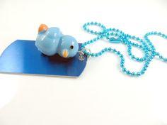 Little girl's blue duckie necklace  by jewelryandmorebykat on Etsy