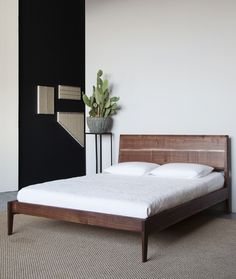 WALNUT BED 2 Solid Unsteamed Walnut With Maple Slats. X X Features  Carefully Fitted Exposed Bridle And Through