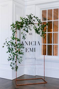 Metallic details mixed with greenery makes for the perfect modern touch. Metallic details mixed with greenery makes for the perfect modern touch. Event Signage, Wedding Signage, Wedding Ceremony, Wedding Place Cards, Wedding Places, Wedding Trends, Wedding Designs, Wooden Wedding Signs, Welcome To Our Wedding