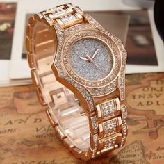 22.75$  Watch here - http://ali6ix.shopchina.info/go.php?t=32698741431 - 2016 Luxury Brand Designer Ladies Watch Women Alloy Steel Rose Gold Bracelet Full Crystal Diamond Dress Quartz-watch Clock Women  #buyonlinewebsite