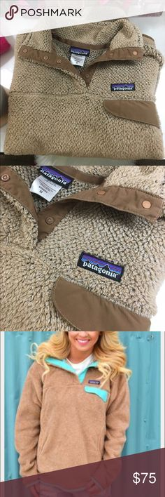 Patagonia fleece pullover medium brown tan Great condition. Only selling because I have too many. I also have a pink one I can bundle for a discount Patagonia Sweaters