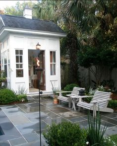 small pool house - little place to change/have minibar/maybe tiny bathroom? pool - traditional - garage and shed - charleston - Kirk Wood Homes Backyard Studio, Backyard Sheds, Garden Sheds, Backyard House, Garden Oasis, Backyard Pools, Backyard Retreat, Outdoor Rooms, Outdoor Living
