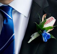 Baseball themed boutonnieres made with Baseball Roses.