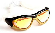 Qishis Colorful Big Frame Comfortable Antiwater Antifog Antiuv Swimming Goggles for Adult gold >>> See this great product.Note:It is affiliate link to Amazon.