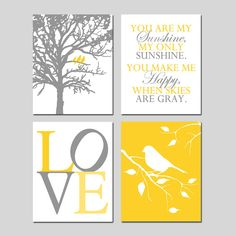 Yellow Gray Nursery Art Quad - Birds in a Tree, You Are My Sunshine, LOVE, Bird on a Branch - Set of Four 11x14 Prints - Choose Your Colors