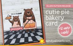 FUN with this release, as you can, uh, see! Here's a ton of cards I made from them – you'll only see the above bear bakery card being made in the video, bu… First Halloween, Halloween Cards, Pie Bakery, Sandy Allnock, Coffee Cards, Interactive Cards, Christmas Characters, Animal Cards, Lawn Fawn