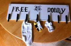 DIY free Dobby sock board for laundry room I'm not an RA but I think so is too funny to not be pinned.