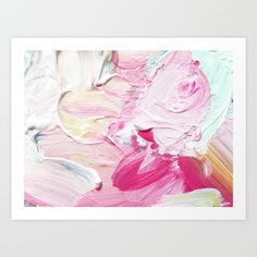 Minty Rose is a delectable smoosh of sherbet-y swirls! Find a bold dash of fuchsia and a hint of lemon chiffon among carefree brushstrokes featuring creamy white, delicate rose quartz, and fresh minty green. Painted by artist Mari Orr.<br/> <br/> [art, photo...