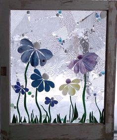 Summer Flowers Stained Glass in Vintage Windows and Original Hardware - Cool Glass Art Designs Mosaic Flowers, Stained Glass Flowers, Stained Glass Designs, Stained Glass Projects, Stained Glass Patterns, Stained Glass Art, Mosaic Art, Mosaic Glass, Fused Glass