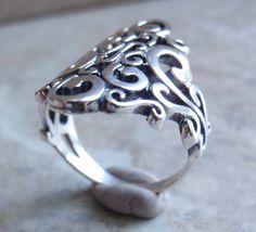 Sterling Silver Scroll Cutout Ring Ornate by cutterstone on Etsy