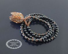 Rose gold lotus necklace 108 mala beads necklace by EmpathyGifts