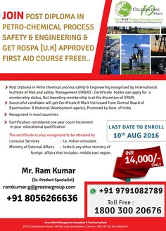 GWG's exclusive offer for diploma in petro chemical process and safety engineering  http://greenwgroup.co.in/training-courses/diploma-petro-chemical-process-safety-engineering/  #diplomainpetrochemicalprocess