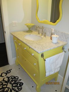 This vanity was made from an old dresser!  So creative!!