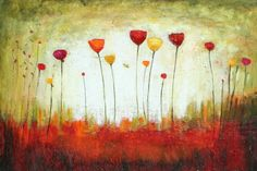 Botanical abstract painting abstract floral garden textured art marems $199