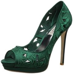 Badgley Mischka Women's Dacey Open-Toe Pump: Emerald Green Satin