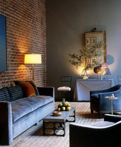 home of interior designer steven volpe (I love the wall color! Fantastic to mix with brick)