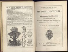 """Beeton's """"All About It"""" books. All about Country Life being a dictionary of Rural Avocations. The British Library copy is at shelf mark 12202ee1/4 Published by Ward, Lock and Tyler probably in 1873, this image shows the title page with the rebus of S O Beeton, and advertisements opposite, printed on the half title page verso"""