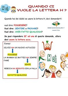 Quando si usa h Italian Language, Learning Italian, New Years Eve Party, Study Tips, Children, Kids, Improve Yourself, Homeschool, Coding
