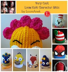 Loom Knit Character Hats Patterns More