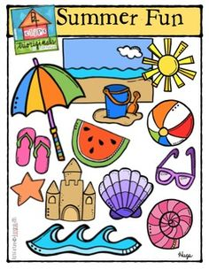 This super fun Summer clip art set includes 26 images. There are 13 vibrant coloured images and 13 black and white images.Summer Fun includes: (colour and b/w)-Beach background-Sun-Bucket and shovel-Beach umbrella-Beach ball-Watermelon slice-Flip flops-Sunglasses-Starfish-Sand castle-Fan shell-Spiral shell-WaveEnjoy using them to create resources and creative projects such as letters, cover pages, activity/task cards and more.