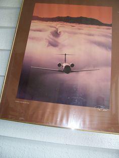 Vintage Arial Art Print Paul Baven CESSNA CITATION VI  Fog over Lake Tahoe  framed large  30 x 24  signed ! by LIZ404 on Etsy