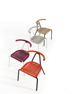 Toro chair #design by Michael Geldmacher 2017. The versions with multi-layered wooden and upholstered seats are suitable for indoor use while the outdoor versions feature interwoven seat and back rest and painted galvanized steel structure.