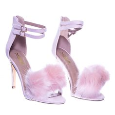These sandals features double buckle ankle strap, closed heel counter, zipper closure, open toe construction, faux fur pompom on the toe strap and thin high heel. Dr Shoes, Cute Shoes Heels, Fur Heels, Cute High Heels, Pink High Heels, High Heel Boots, Purple Heels, Black Heels, Heels Outfits