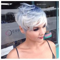 Pastel blue and icy white color by @joseph_cuozzo and outstanding pixie by @tonyacuozzo #hotonbeauty