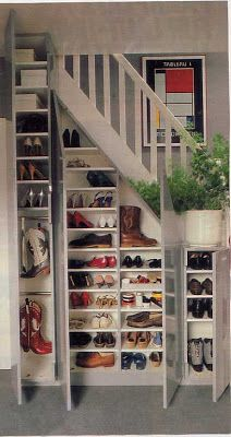 Shoe Closet.....what perfect use for wasted space under the stairs!!