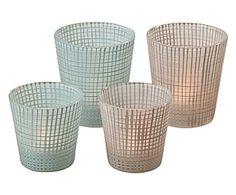 in vetro laccatto azzurro/lilla, max cm Home Living, Home Deco, Decorative Items, Tea Lights, Lanterns, Canning, Jena, Decorative Objects, Tea Light Candles