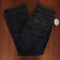 Levi's Womens Sz 12 Petite (26x30) Calvary Bootcut Flap Pocket Dark Jeans 3A…