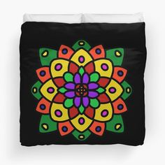 """Flower of Life Mandala"" Duvet Cover by Pultzar 