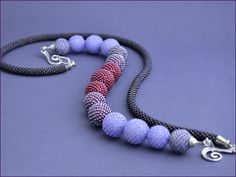 Necklace Purple gradient by Chudibeads on Etsy