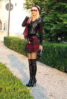 Tartan skirt + Biker jacket + Over the knee boots