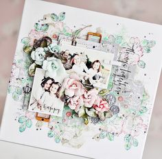"Soft and sweet, Ania Hababicka chose a clean white backdrop for her project. The backdrop was created with our new Stamp N' Layer floral stamp sets, which Ania loves using for gorgeous effects, then beautiful ""sister"" pics are added. #PPP #colorpalette"