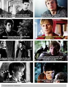 Agh feels, love the comparisons, shows how much Arthur really does care for Merlin