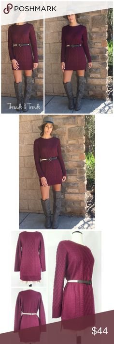 Selling this Cable Knit Sweater Dress on Poshmark! My username is: kmb42. #shopmycloset #poshmark #fashion #shopping #style #forsale #Threads & Trends  #Dresses & Skirts