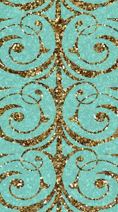 Teal and gold swirl iPod wallpaper.
