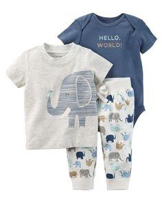 Baby Boy 3-Piece Elephant Babysoft Bodysuit Pant Set   Carters.com