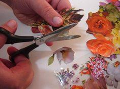 Découpage em vidro cortando as flores