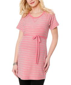 Take a look at this Heather Gray & Neon Pink Stripe Tie-Front Maternity Tunic by Motherhood Maternity on #zulily today!