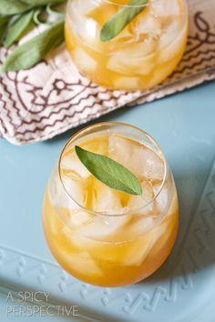 """Indian Summer"" Bourbon Cocktail | 2 oz. good bourbon 1/4 oz. limoncello 1/2 oz. fresh lemon juice 1 heaping Tb. Apricot jam 8-12 fresh sage leaves"