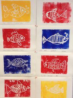 Press print grafiikkaa, Itämeren satukala, 2.lk. (Alkuopettajat FB -sivustosta / Paula Saloheimo)