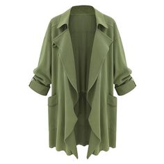 Moss Green Draped Cardigan Lookbook Store ($36) ❤ liked on Polyvore featuring tops, cardigans, jackets, outerwear, drape cardigan, drapey top, green top, drape top and cardigan top