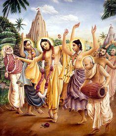 Chaitanya Mahaprabhu dancing on Hare Krishna