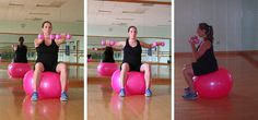 Pregnancy exercise on a fit ball arm workout